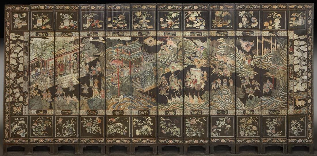 Set of Chinese Qing twelve panel polychrome