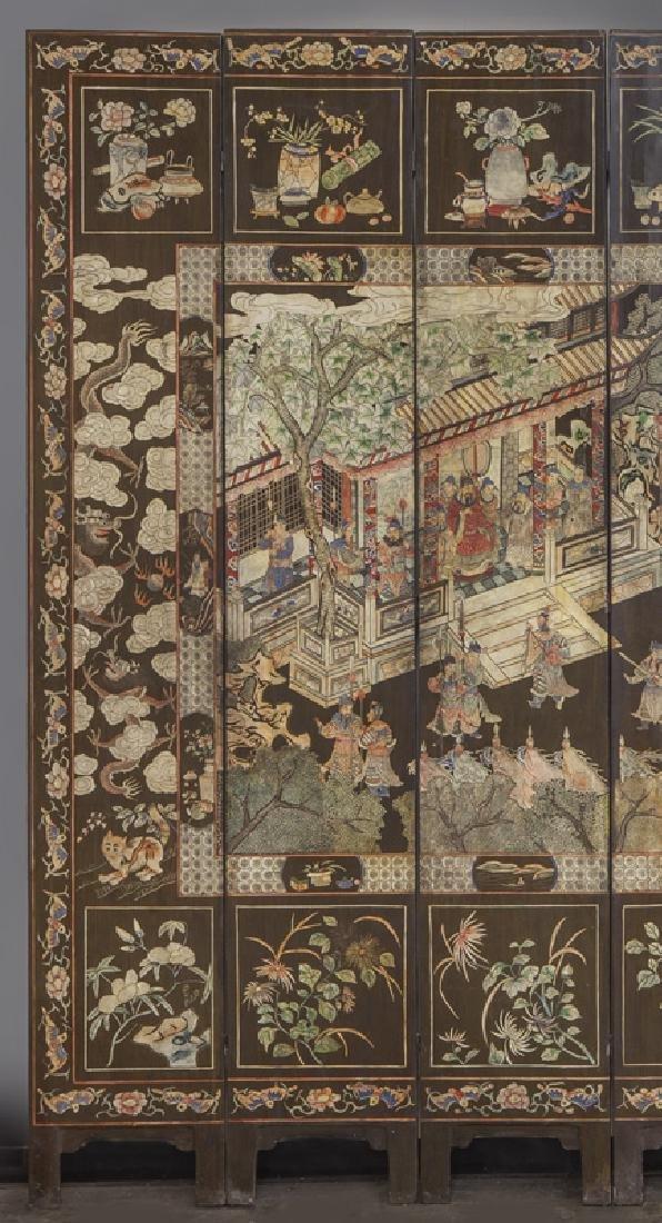 Set of Chinese Qing twelve panel polychrome - 2