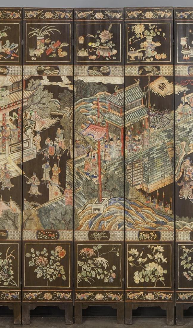 Set of Chinese Qing twelve panel polychrome - 3