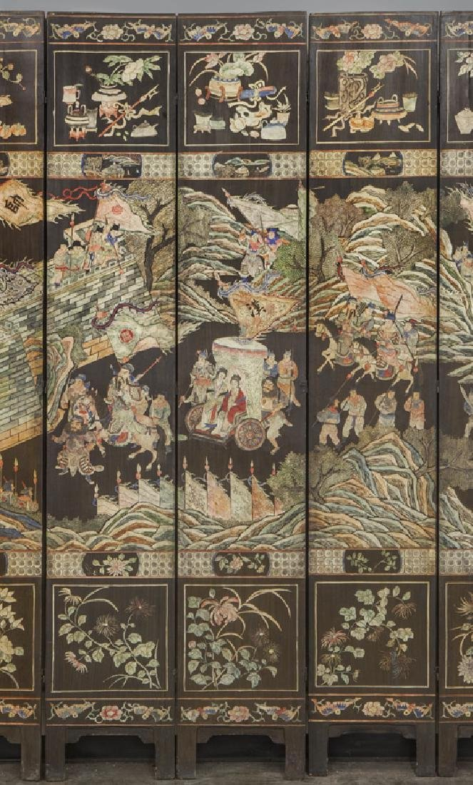 Set of Chinese Qing twelve panel polychrome - 4