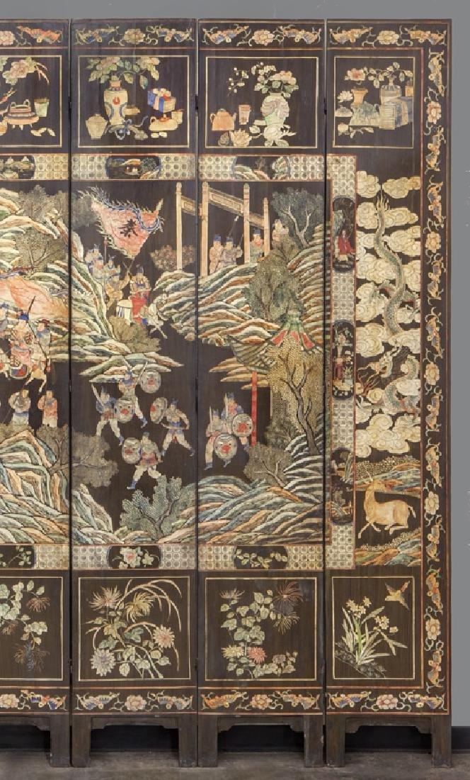 Set of Chinese Qing twelve panel polychrome - 5