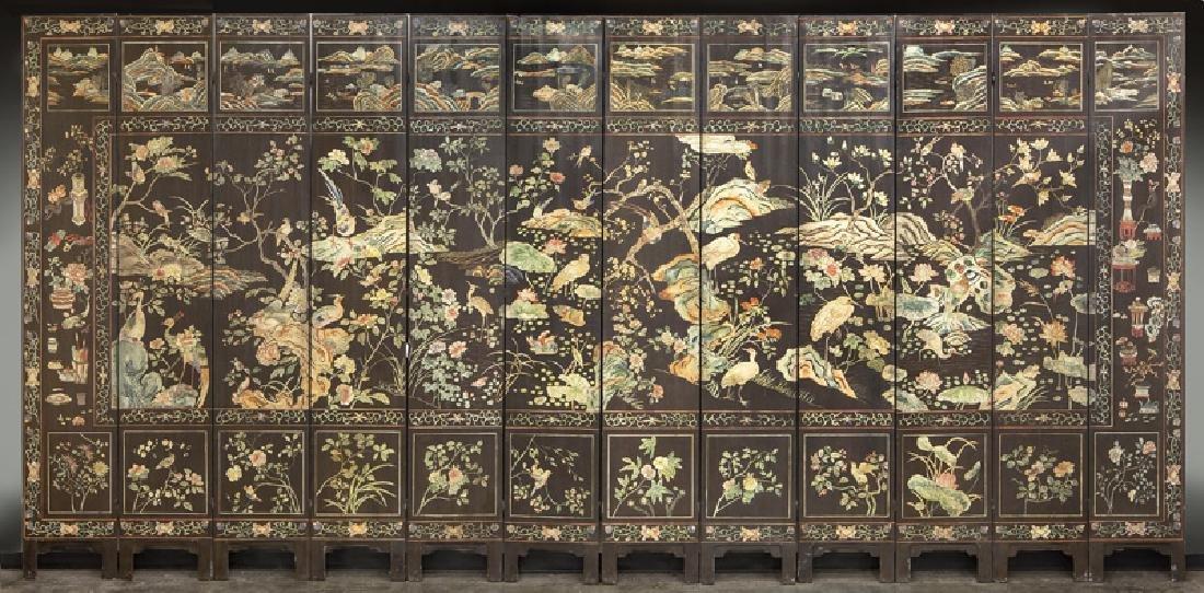 Set of Chinese Qing twelve panel polychrome - 6