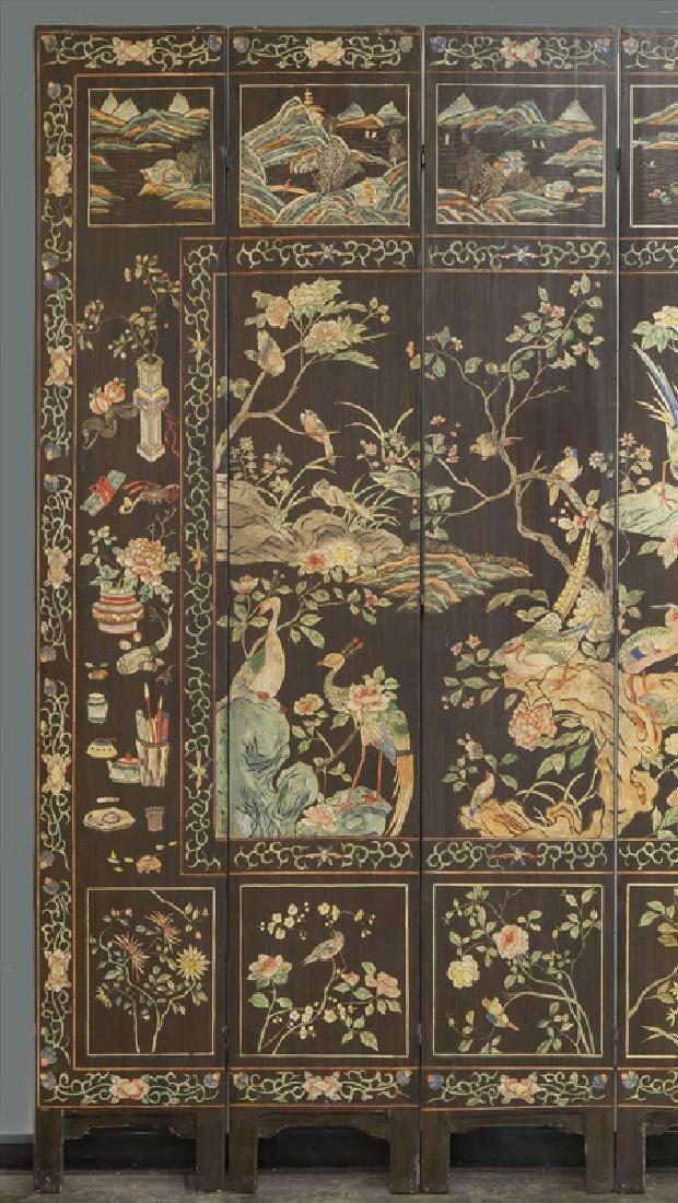 Set of Chinese Qing twelve panel polychrome - 7