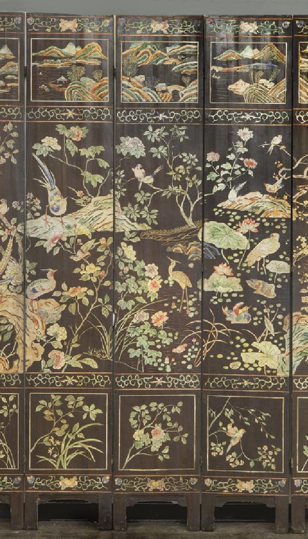 Set of Chinese Qing twelve panel polychrome - 8