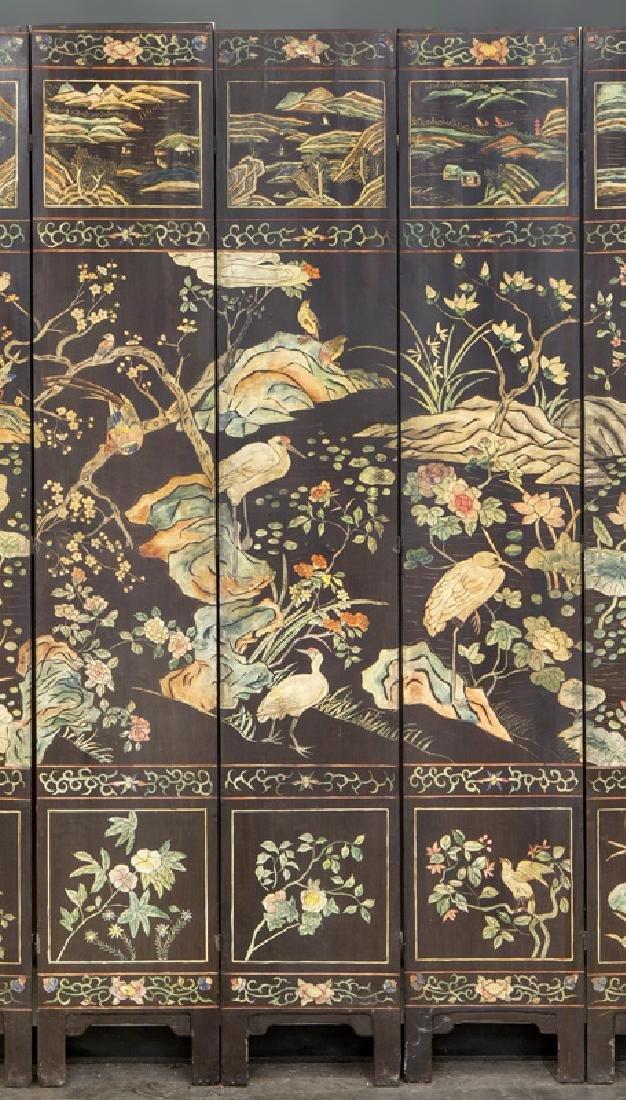 Set of Chinese Qing twelve panel polychrome - 9