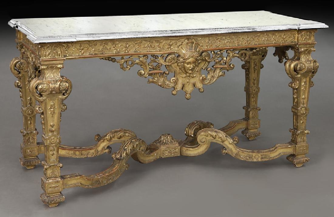 Napoleon III gilt carved marble top console table