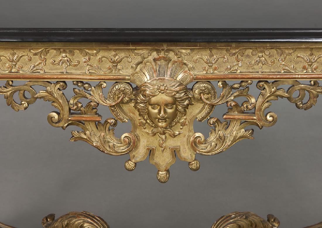 Napoleon III gilt carved marble top console table - 9
