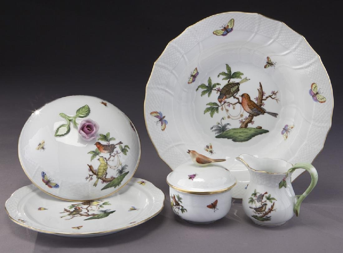 "126 Pcs. Herend ""Rothschild Bird"" pattern dinner - 7"