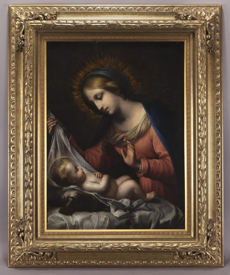 19th C. painting of Madonna and Child set in a - 2