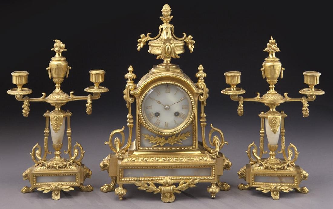 3 Pc. French ormolu clock garniture set,