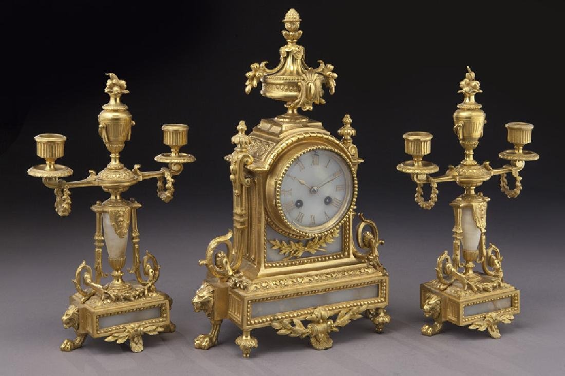 3 Pc. French ormolu clock garniture set, - 2