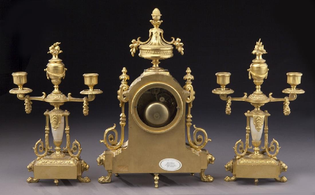 3 Pc. French ormolu clock garniture set, - 4