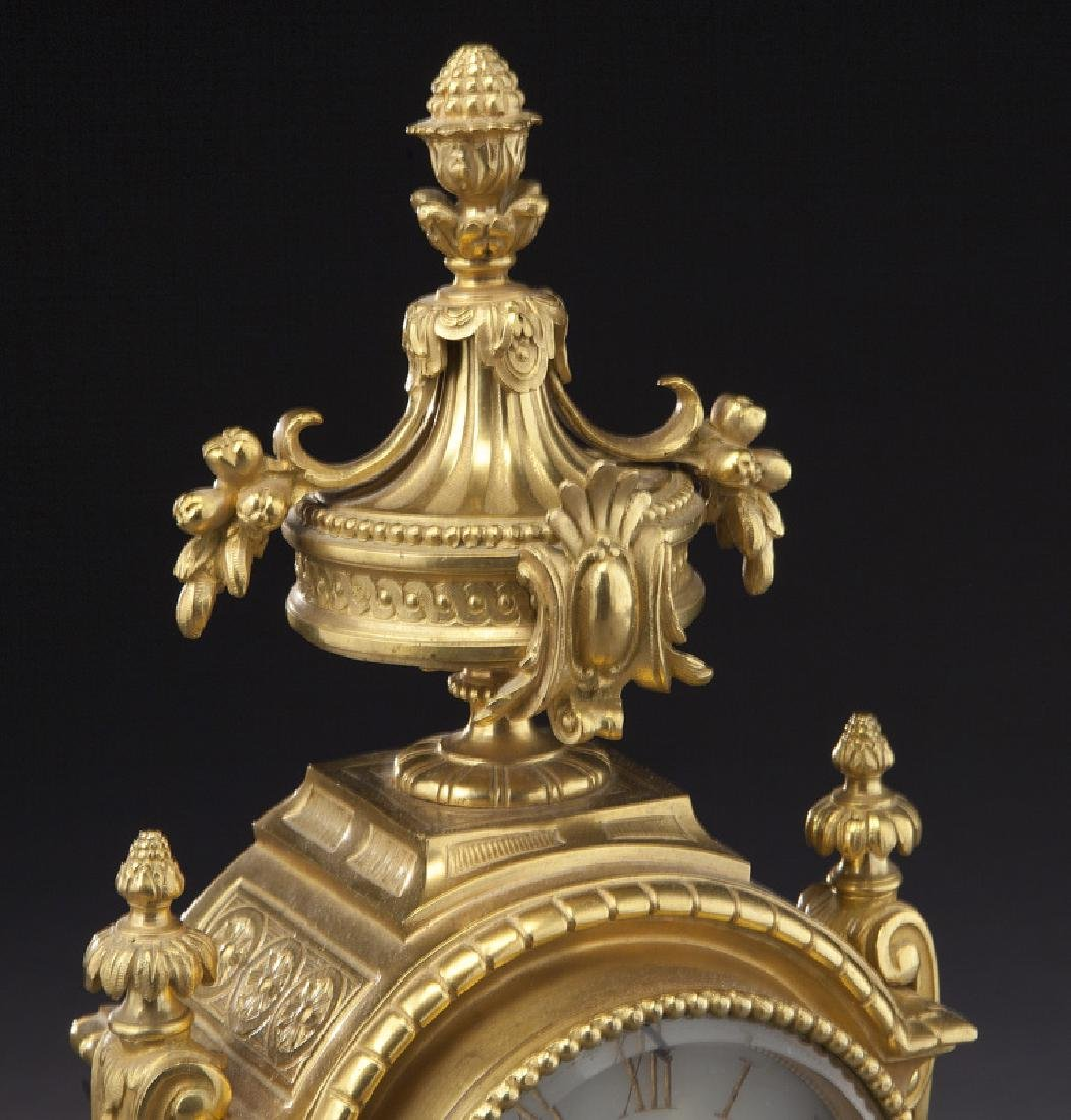 3 Pc. French ormolu clock garniture set, - 6