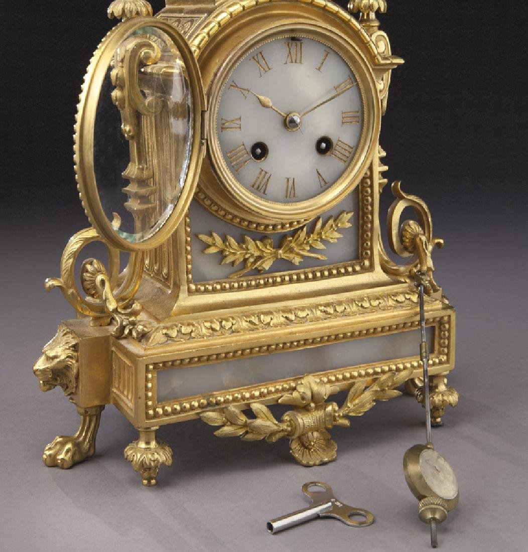 3 Pc. French ormolu clock garniture set, - 7