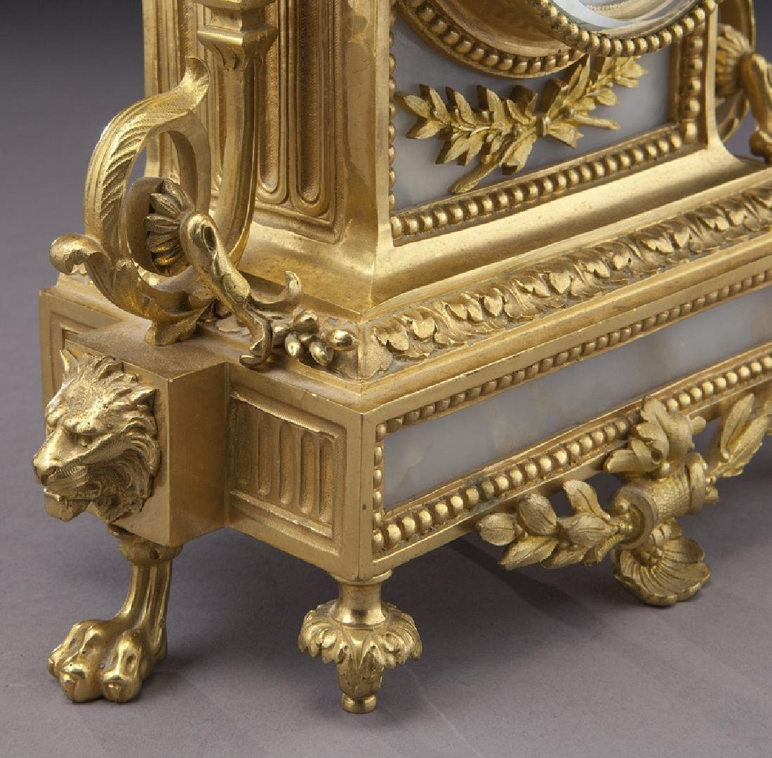 3 Pc. French ormolu clock garniture set, - 8