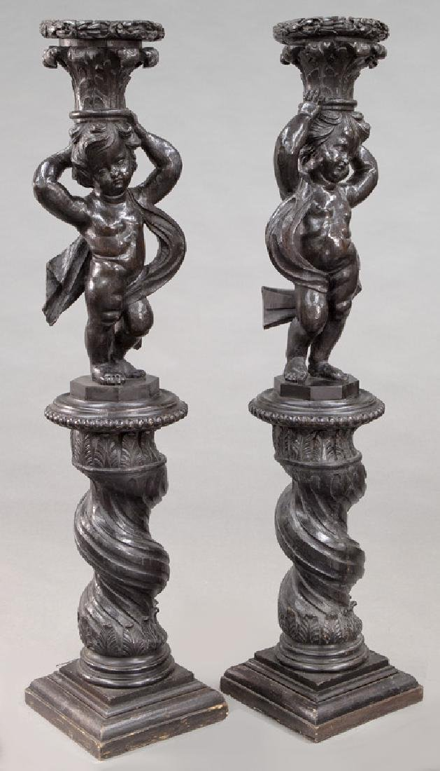 Pr. Portuguese carved wood figural torchieres, - 2