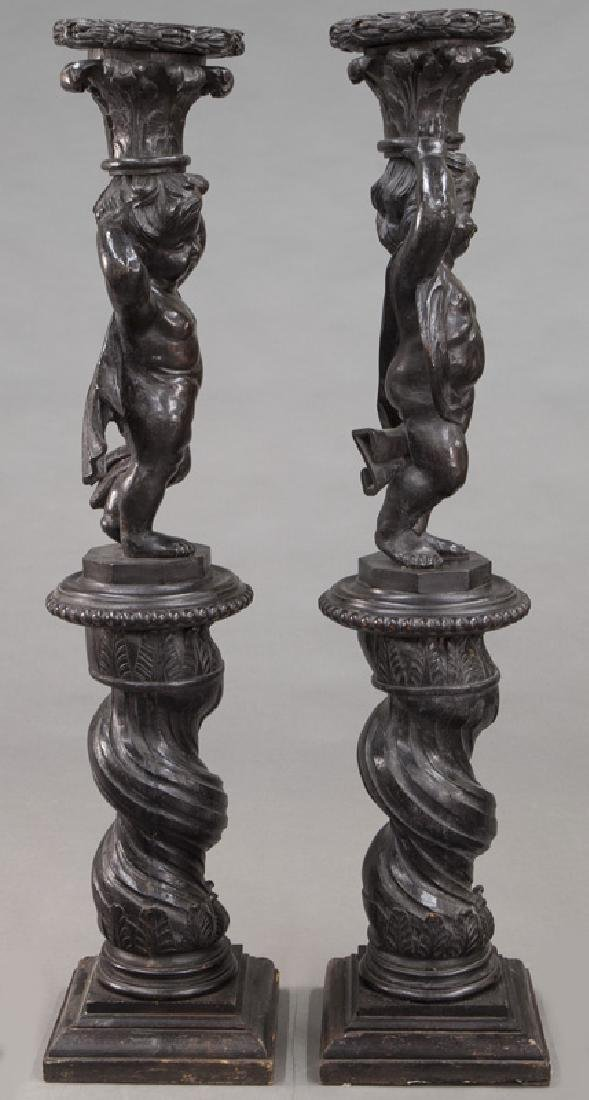Pr. Portuguese carved wood figural torchieres, - 3