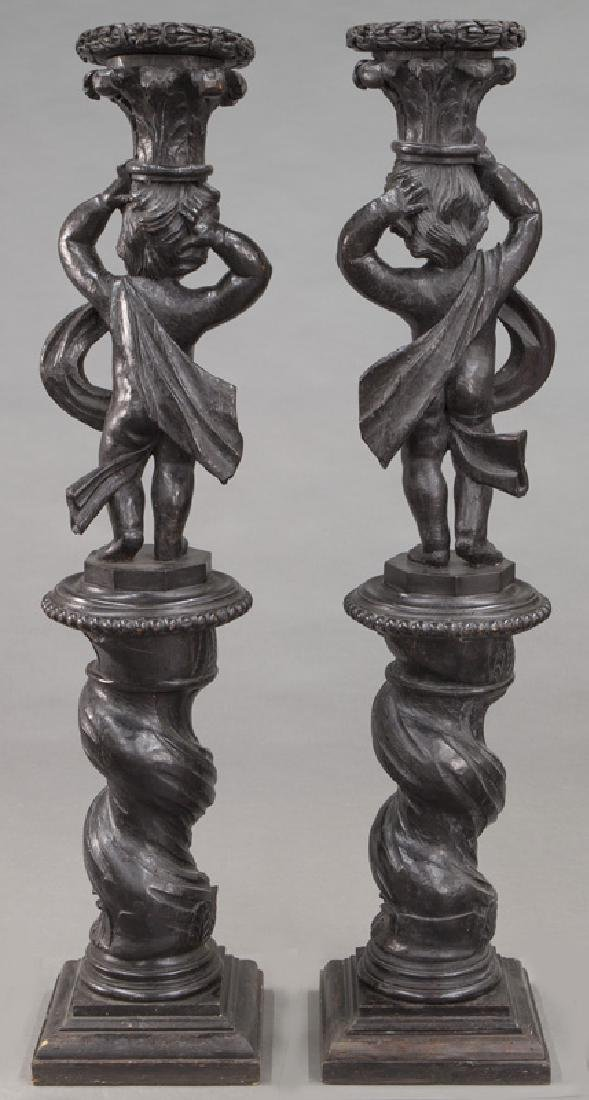 Pr. Portuguese carved wood figural torchieres, - 4