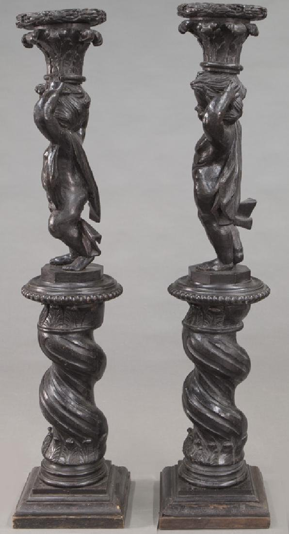 Pr. Portuguese carved wood figural torchieres, - 5
