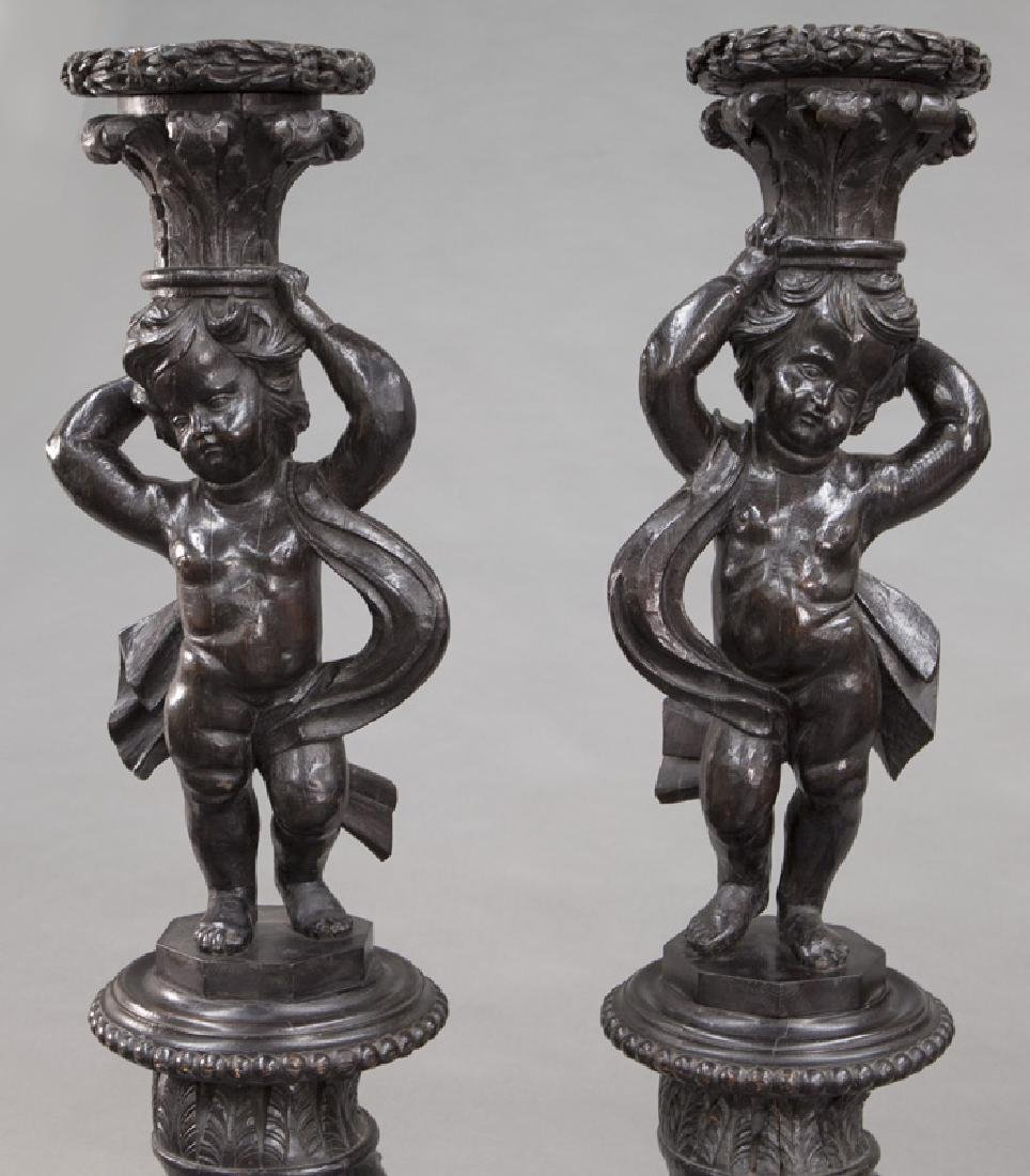 Pr. Portuguese carved wood figural torchieres, - 6