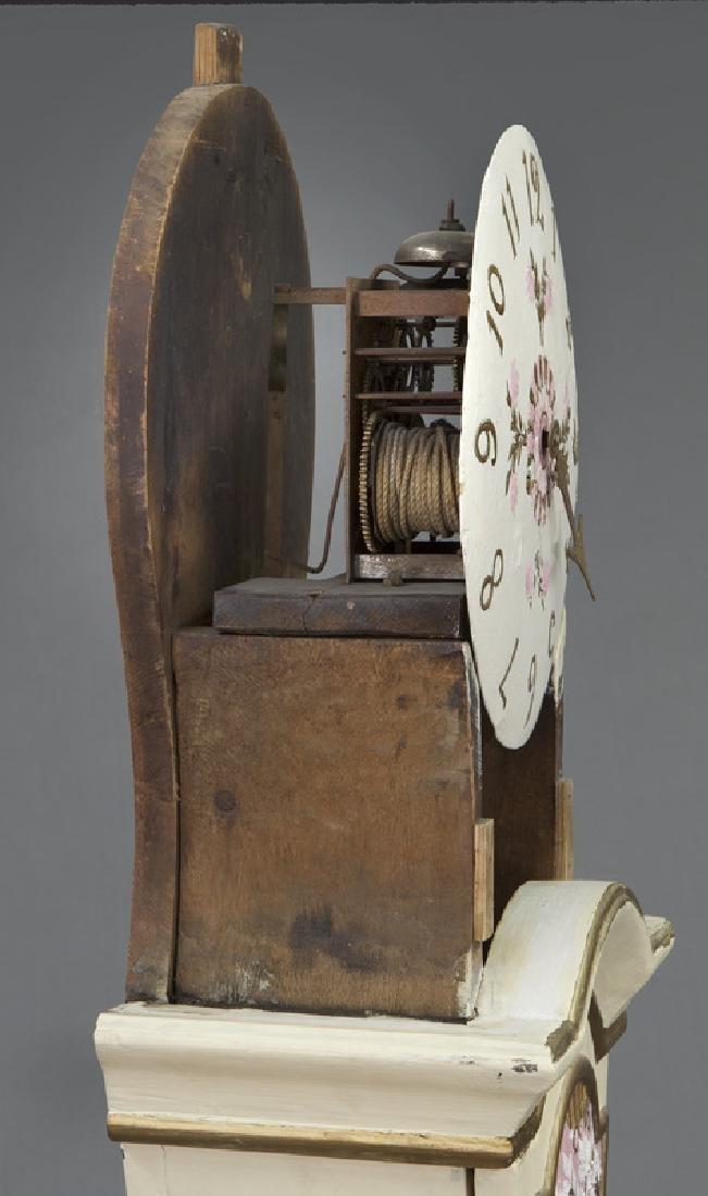 Antique Swedish Mora painted pine tallcase clock - 10