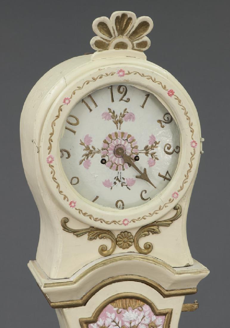 Antique Swedish Mora painted pine tallcase clock - 6