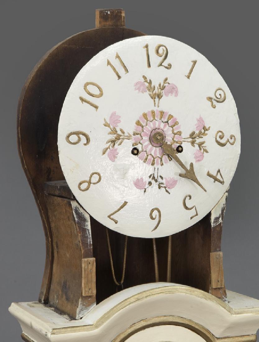 Antique Swedish Mora painted pine tallcase clock - 9