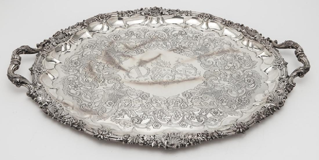 Large English sterling silver serving tray