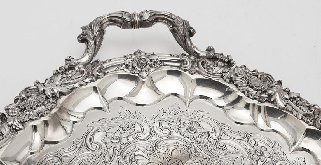 Large English sterling silver serving tray - 2