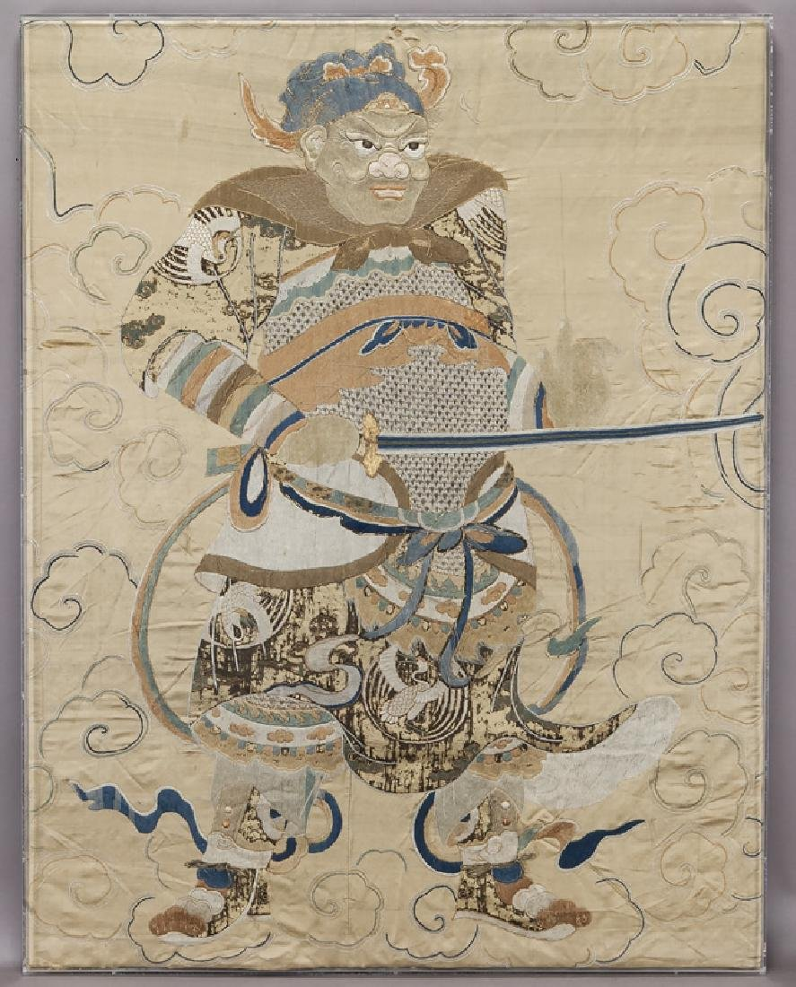 Chinese Ming Dynasty silk embroidery panel