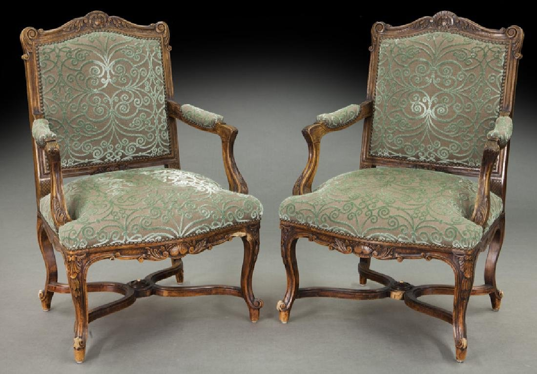 Pr. Regence style carved armchairs
