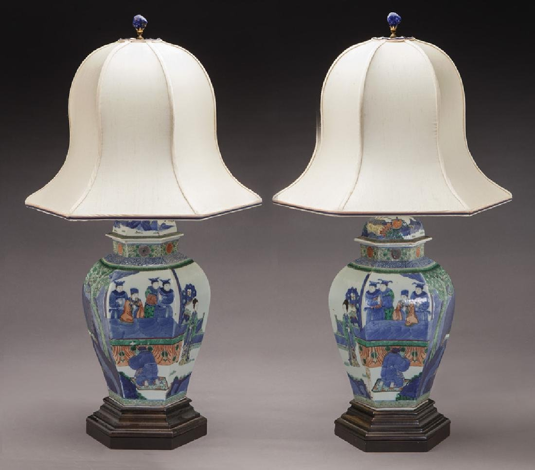 Pr. Chinese Qing cobalt blue and wucai porcelain