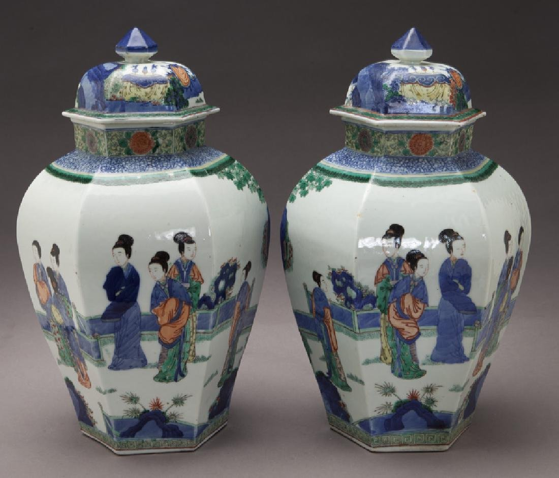 Pr. Chinese Qing cobalt blue and wucai porcelain - 5