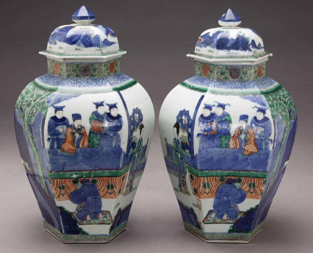 Pr. Chinese Qing cobalt blue and wucai porcelain - 7