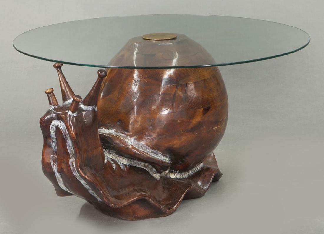 Frederico Armijo carved pine snail-form table - 2
