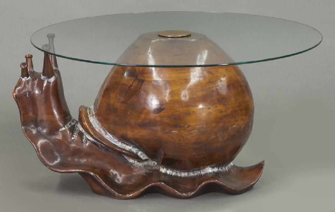 Frederico Armijo carved pine snail-form table - 3