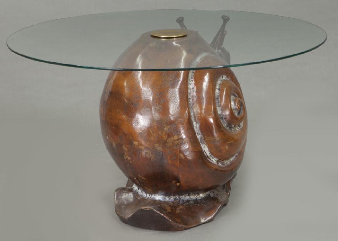 Frederico Armijo carved pine snail-form table - 4