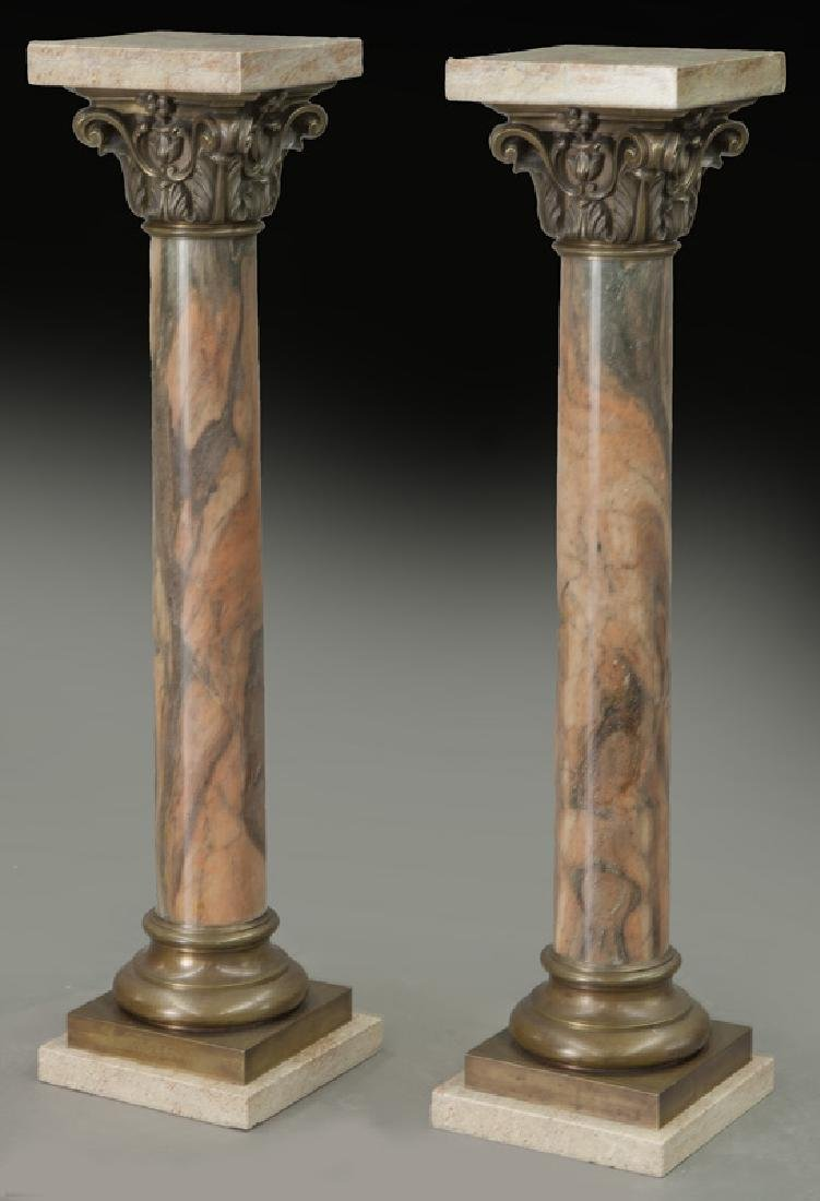 Pr. of bronze mounted marble display pedestals
