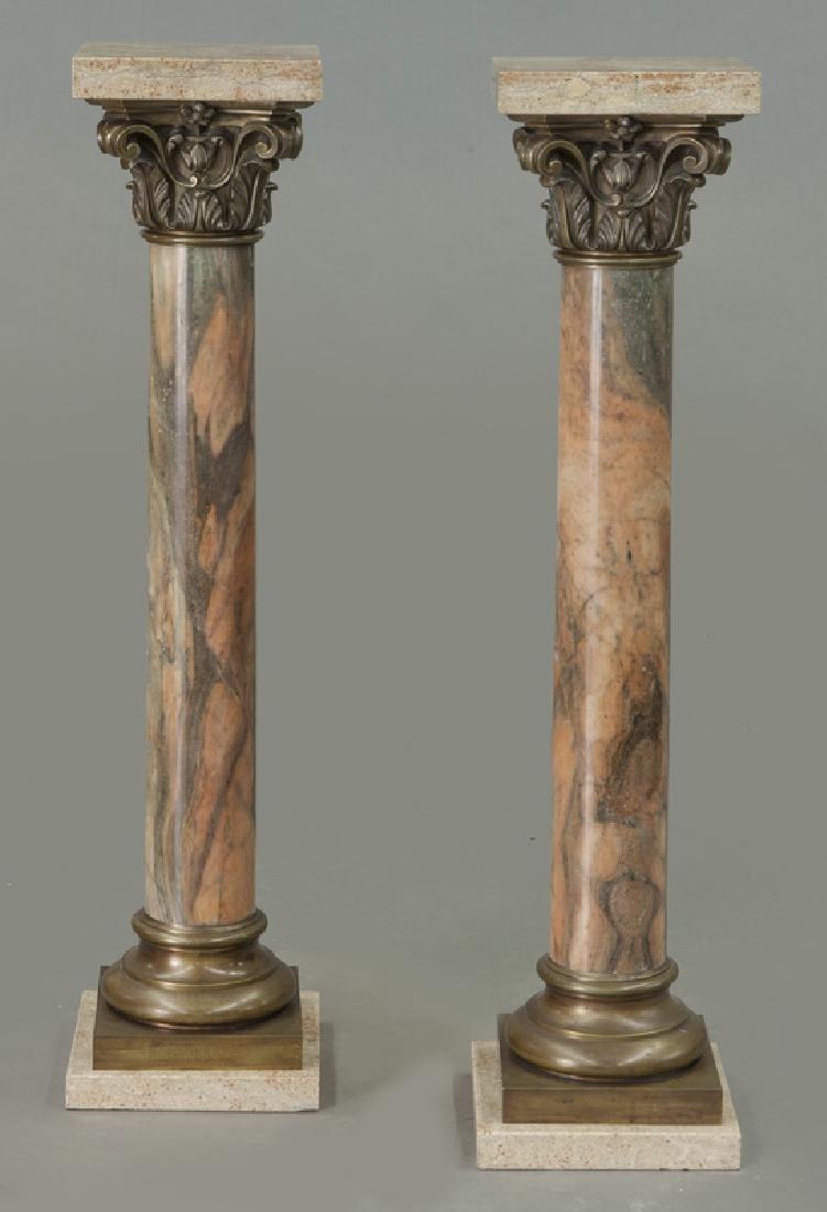 Pr. of bronze mounted marble display pedestals - 2