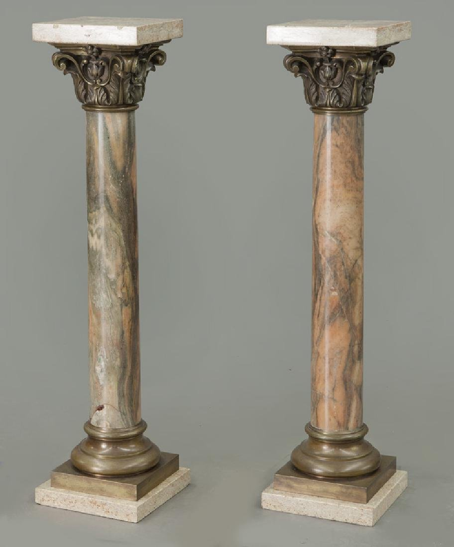 Pr. of bronze mounted marble display pedestals - 3