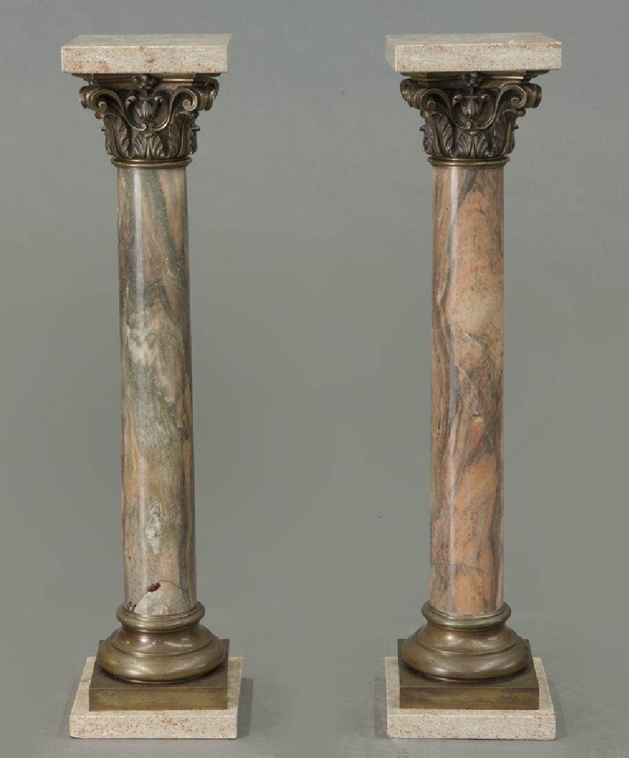 Pr. of bronze mounted marble display pedestals - 4