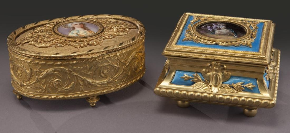 (2) French gilt metal dresser boxes,