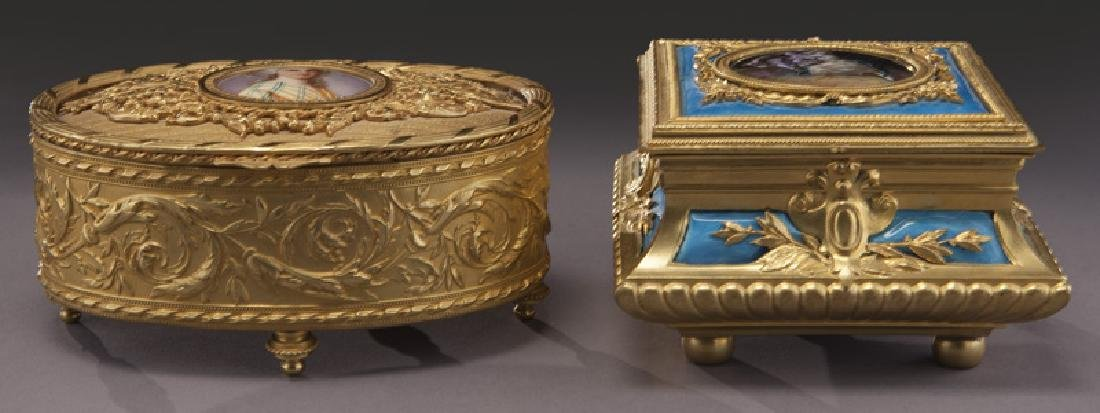 (2) French gilt metal dresser boxes, - 2