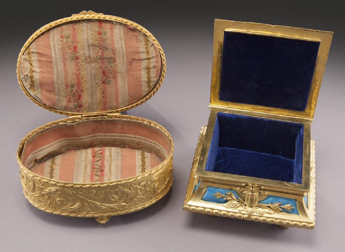 (2) French gilt metal dresser boxes, - 8