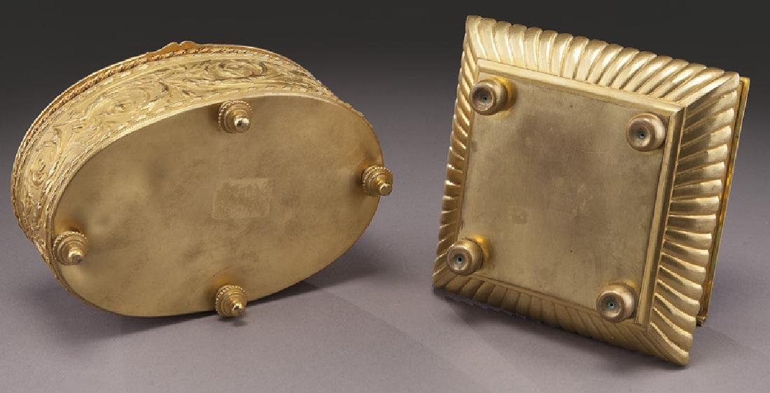 (2) French gilt metal dresser boxes, - 9