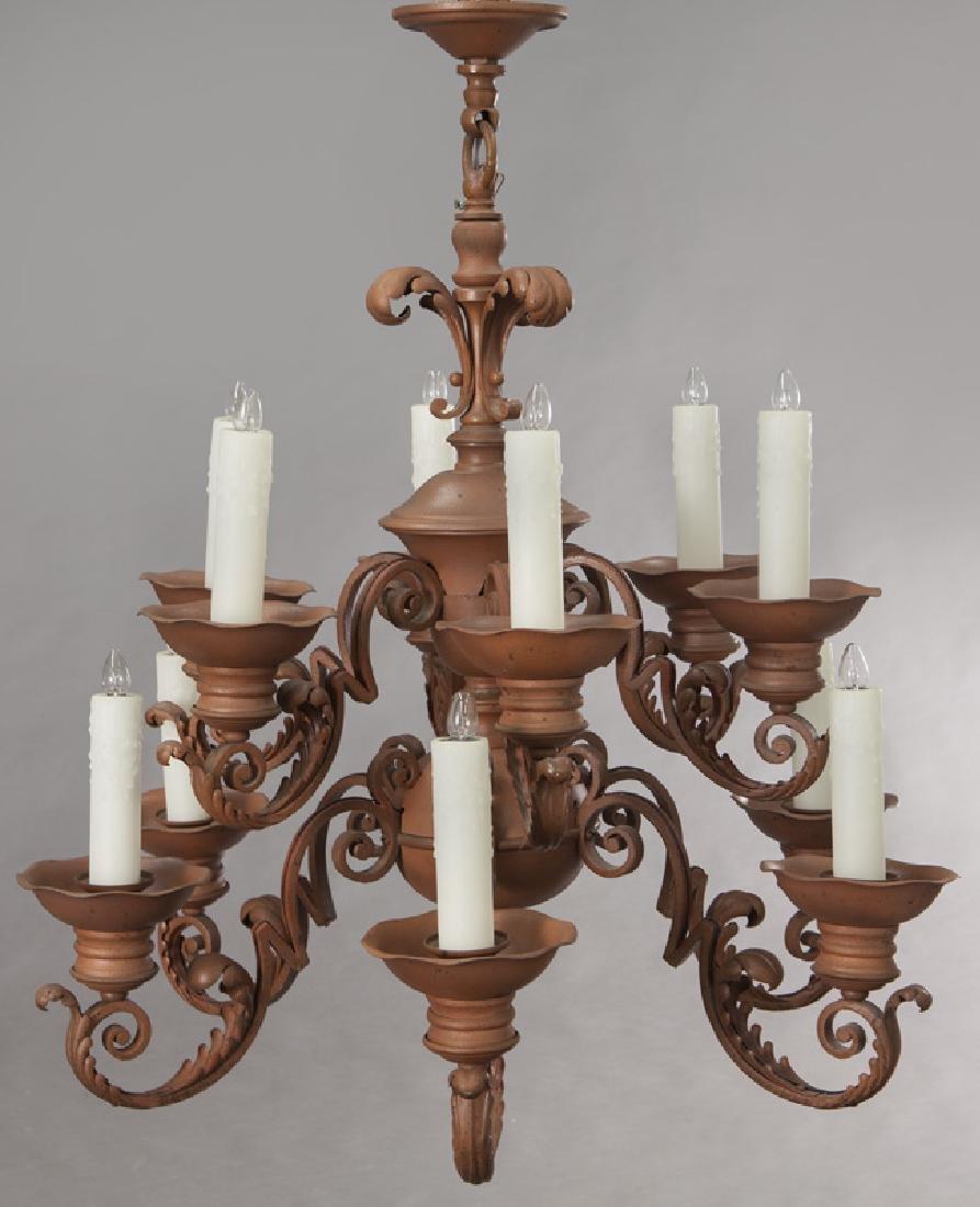 Iron 12-light chandelier, - 2