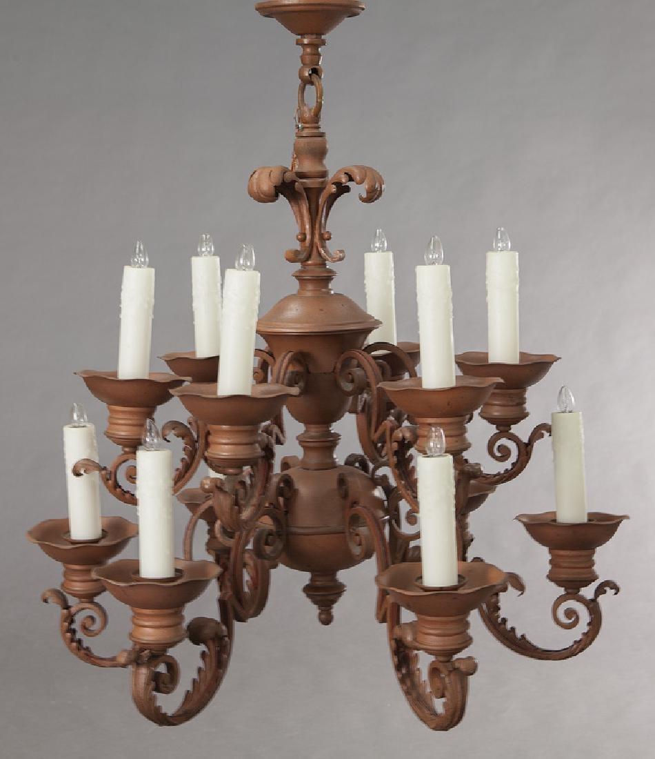 Iron 12-light chandelier, - 3