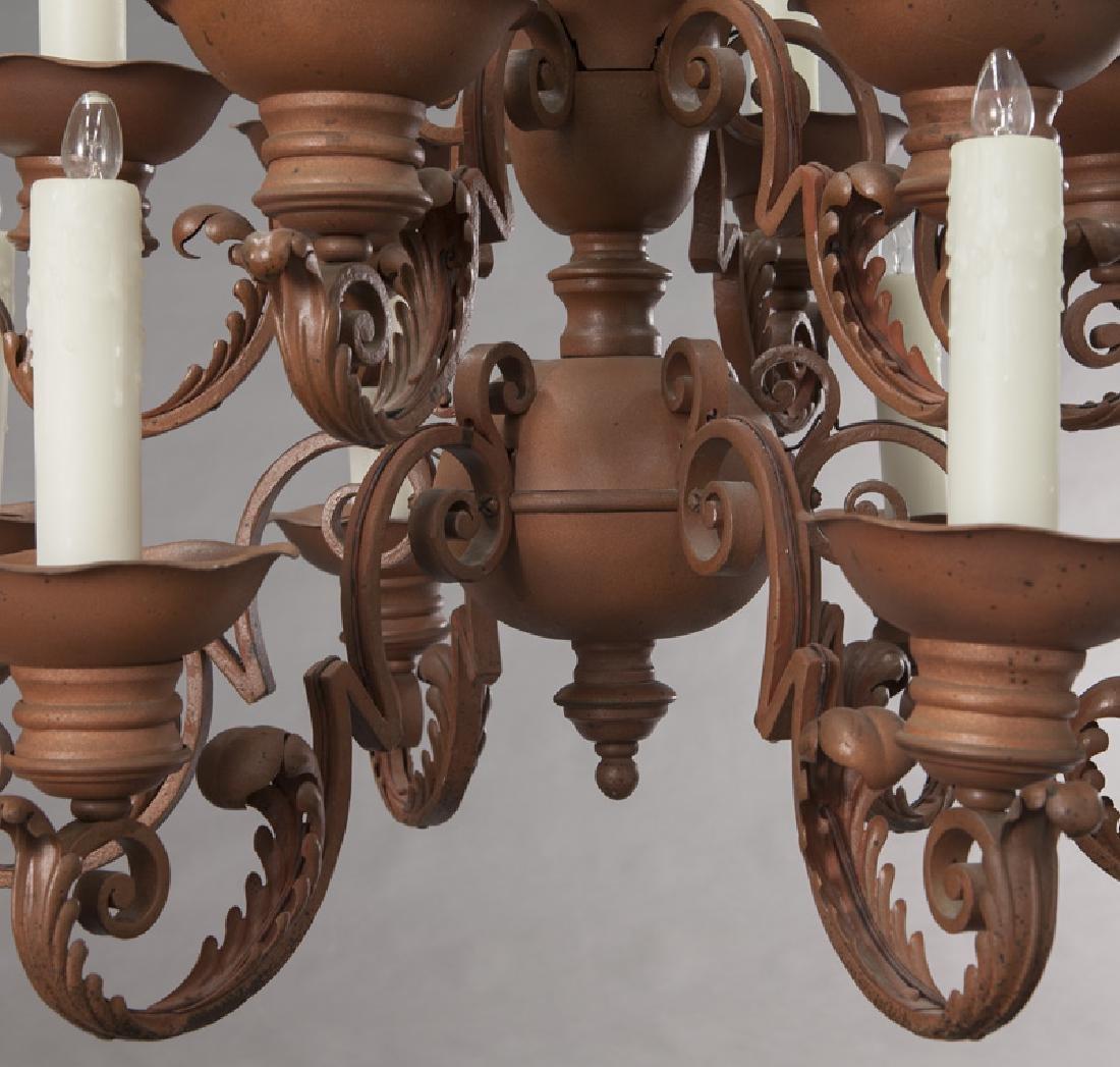 Iron 12-light chandelier, - 6