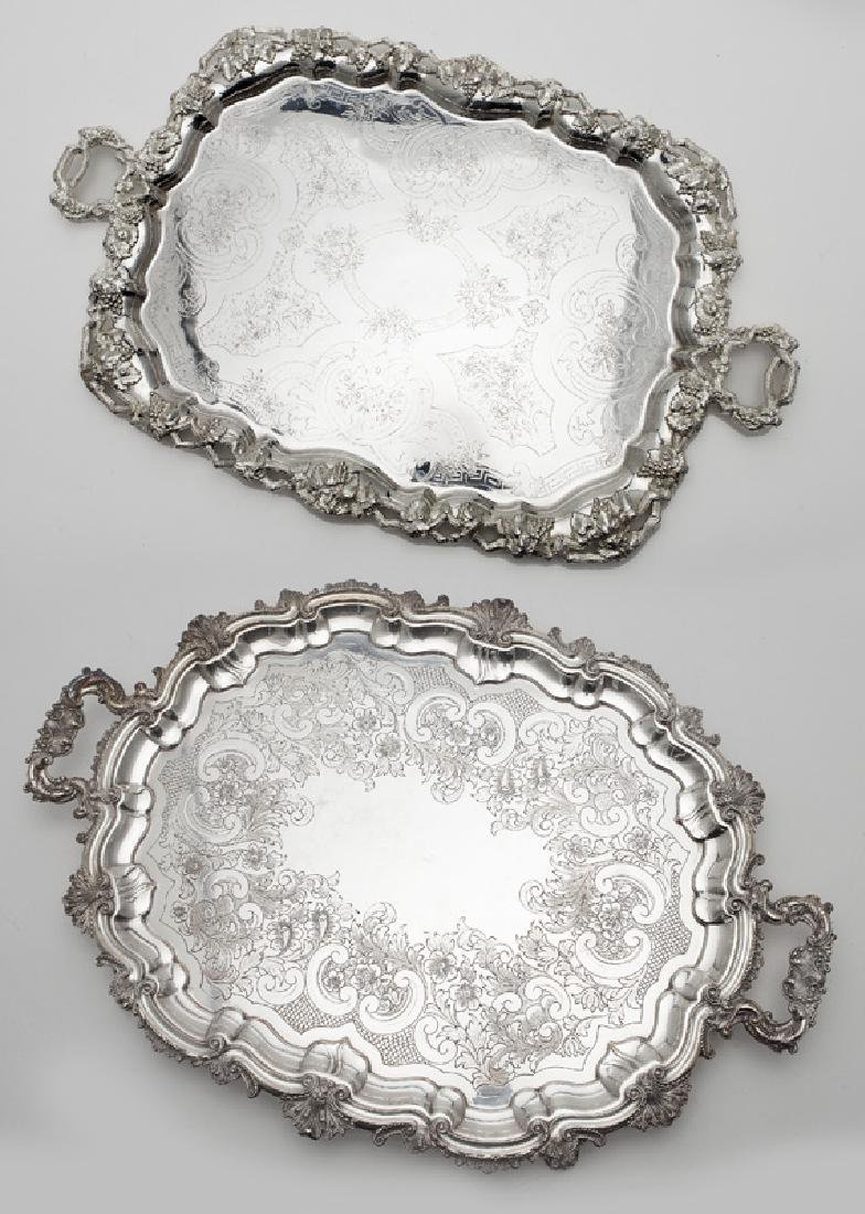 (2) Large ornate silverplate serving trays,