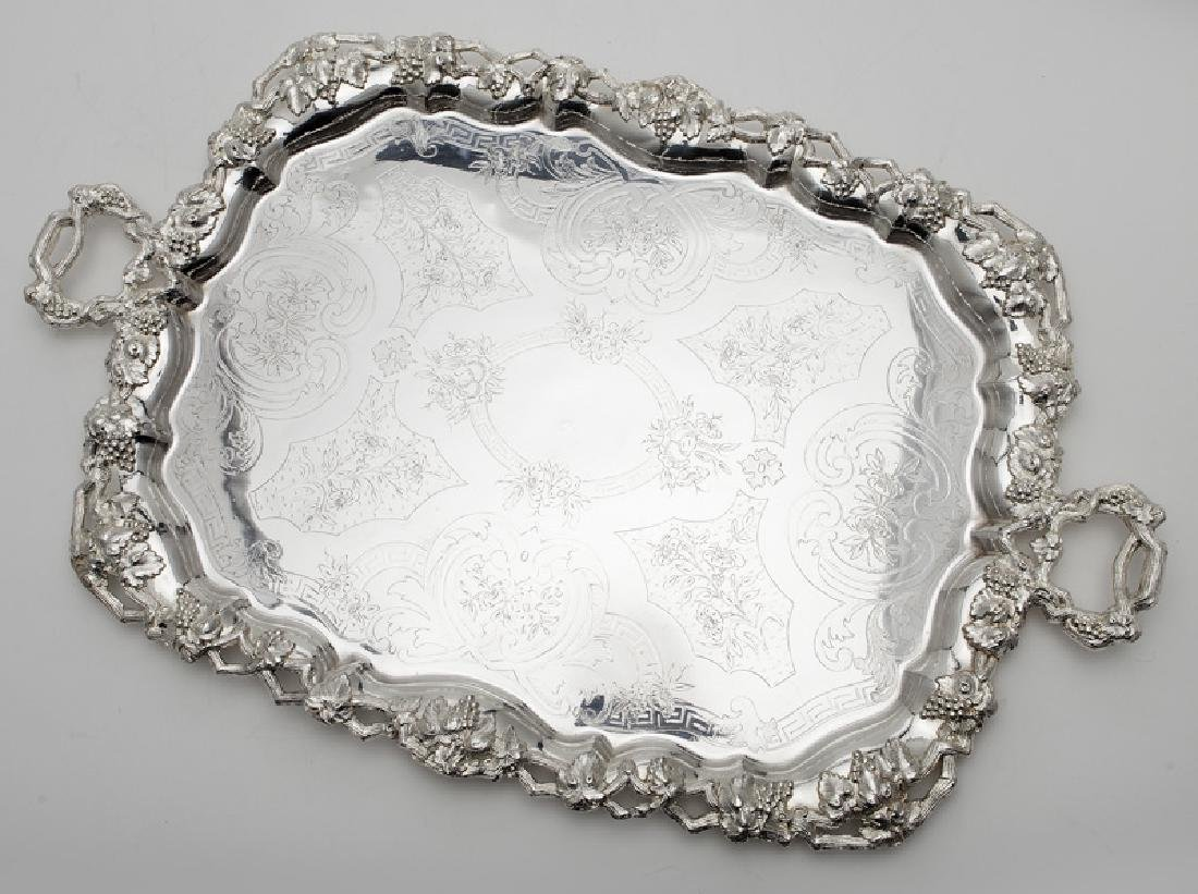 (2) Large ornate silverplate serving trays, - 2